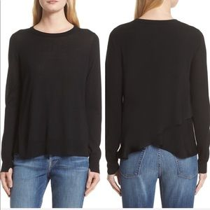 •A.L.C. •Cora Merino Wool Sweater Split Back Black